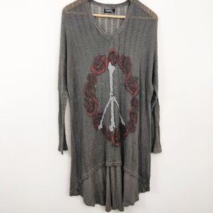 Lauren Moshi Roses & Bones Peace Sign Dress XS/S